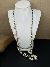 """J. Crew White Faux Pearl and Burnished Rectangle Chain Necklace 30"""""""