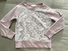 Guess Girls Sweatshirt Top Size 8 Pink With Lace  Light Cotton