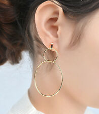 Large Circle Earrings Double Rings Dangle Lady Fashion Chic Simple Design Gift
