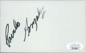 Pancho Gonzalez Tennis Star Signed 3x5 Index Card JSA Authenticated