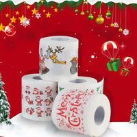 LN_ UK_ EG_ Xmas Santa Claus Deer Print Toilet Roll Paper Tissue Living Room T