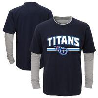 "Tennessee Titans Toddler Navy Blue ""Bleachers"" LS Faux Layer T-Shirt"