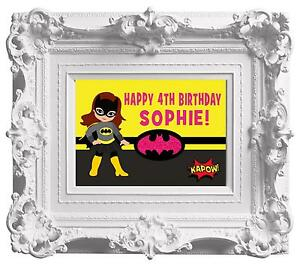 Personalised Batgirl Birthday Party Poster A4 Wall/ Table Sign Banner