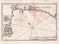 Carte Géographique XVIIIe Palma de Majorque Mallorca Baléares Port Pin 1764