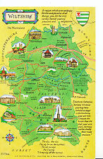 Maps Postcard - Interesting Places in Wiltshire XX286