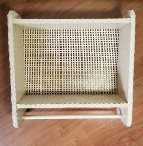 Small Wicker Bathroom Wall Shelf With Hand Towel Bar Almond