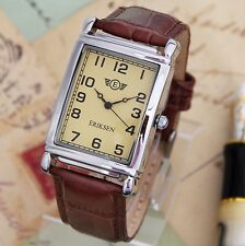 Mans Silver Rectangular Vintage Retro Dress Watch Brown Leather Strap