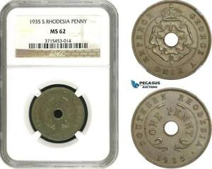 AC316, Southern Rhodesia, George V, Penny 1935, London, NGC MS62