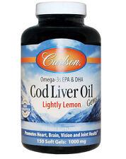 Carlson Omega-3s EPA & DHA Cod Liver Oil , Lightly Lemon, 1000 mg, 150 Soft Gels