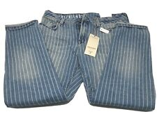 BNWT M&S MARKS & SPENCER LADIES GIRLFRIEND FIT STRIPED JEANS SIZE 10 REGULAR
