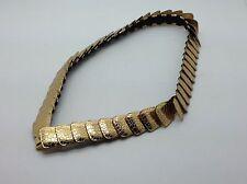 Vintage Hammered Gold Tone Metal Disc Stretch Belt