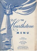 THE HEARTHSTONE Restaurant Menu - Midtown Gramercy Park New York City 1940s