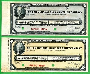 USA  TRAVELERS CHEQUE FOR 50.00 AND 100.00   SPECIMEN