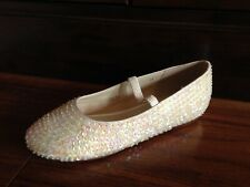 Girls Wedding/Party shoes in Ivory Satin with irradescent sequins. Size 34