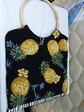 Pineapple Black Hawaiian Tote Purse Bag with Beads Sequins, Bead Fringe