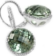 LARGE 10ct ROUND GREEN AMETHYST DIAMOND HALO DROP DANGLE EARRINGS 14K WHITE GOLD
