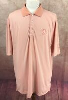 Peter Millar Summer Comfort Golf Polo VNGC Logo Orange Stripe Shirt Men's XL