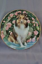 Danbury Mint Shetland Sheepdogs Floral Portrait by Edward Aldrich Plate # C489