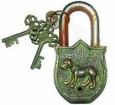 An attractive & unusual Nice Brass made DOG Figure  Padlock + 2 keys from India