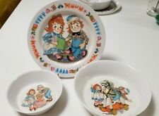 VTG 1969 RAGGETY ANN & ANDY CHILDS PLATE BOWL SET ONEIDA MELMAC BOBBY MERRILL CO