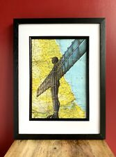Angel Of The North A4 Print. Pen Drawing Over Map Of Gateshead. Unframed