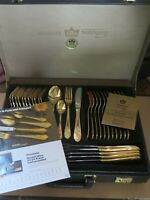 GOLD-PLATED CUTLERY, 70 piece,BESTECKE SOLINGEN ,IN FITTED CASE &PAPERS,QUALITY