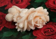 Vintage Big  Japanese Carved Angel Skin Coral Rose Brooch Pin 43mm Long 17.7g
