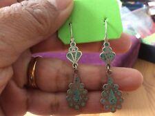Vintage Silver Ornate Turquoise Inlay Dangle Hook Earrings ( B130)
