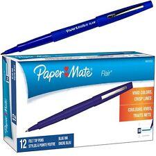 Paper Mate Flair Felt Tip Pen, Blue Ink, Medium Point, 8410152, Box of 12