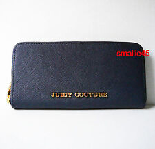 Juicy Couture Navy Blue Leather Zip Around Wallet (Style # YSRUS122) - NWT