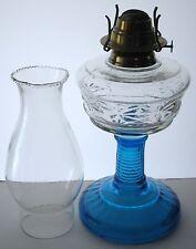 ANITQUE KEROSENE OIL LAMP BLUE GLASS BASE&STEM DRAGONFLY FONT PEARL TOP CHIMNEY