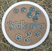 Welcome dog paws plastic stepping stone mold plaster concrete mould