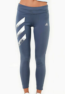 Women Adidas Own The Run 3-Stripe Fast Tights Legacy Blue Active Bottoms NEW