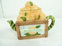 Vtg 1994 Cardinal Inc Teapot w Lid Sunny Fresh Orange Crate Hand Painted Ceramic