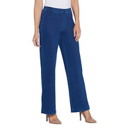 H by Halston Knit Denim Pull-On Wide Leg Full Length Jeans Indigo Petite 12