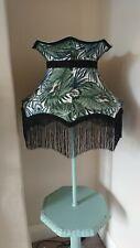 Crown shaped botanical lampshade standard lamp ceiling pendant with black fringe