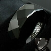 8mm Tungsten Black Multi-Faceted Wedding Band Ring Men's Jewelry