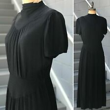 1930s Black Gothic Mock Neck Crepe Gown Rare