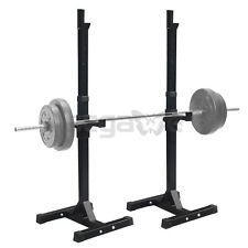 Gym Fitness Adjustable Squat Rack Bench Press Weight Lifting Barbell Stand 2-PC