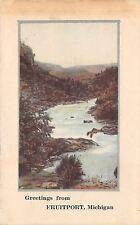 Fruitport Michigan~Scene Along Creek~Aunt Betty is Home~1921 Postcard