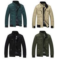 Fashion Men's Slim Collar Cotton Blend Zipper Jackets Tops Casual Coat Outwear