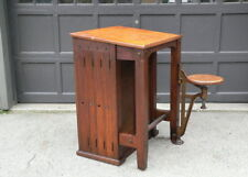 Vintage Old Industrial Boys Tech Cast Iron Swing Arm Stool Drafting Desk table