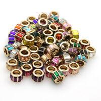 5pcs Facet Crystal Glass Gold Cylinder Tube Charm Beads for European Bracelet