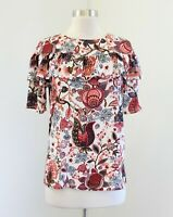 Ann Taylor Loft White Burgundy Floral Ruffle Short Sleeve Blouse Top Size XS