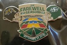 CFL SASKATCHEWAN ROUGHRIDERS 2016 FAREWELL SEASON HAMILTON TIGER-CATS LAPEL PIN