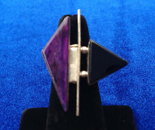 Vintage Sterling Silver Navajo Ring with Purple and Black Stone