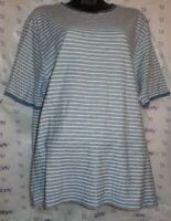 $39 women Lounge tee gray white striped XL knit short sleeve top Gently Worn