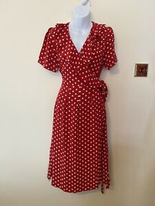 The Seamstress Of Bloomsbury Peggy Wrap Dress Red  Polka Dot Size 10 RRP£79 BNWT
