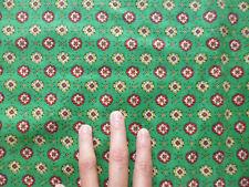 ancien tissu textile ameublement coton imprimé vintage motif vert jaune 50x122