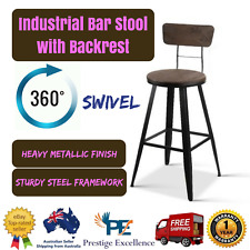 Premium Industrial Bar Stool w/ Backrest 66cm Home Furniture Kitchen Sturdy Seat